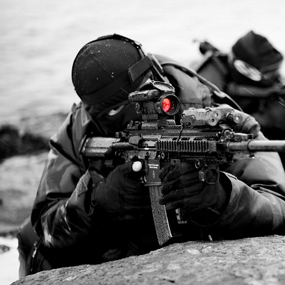 Solider Using Aimpoint Pro